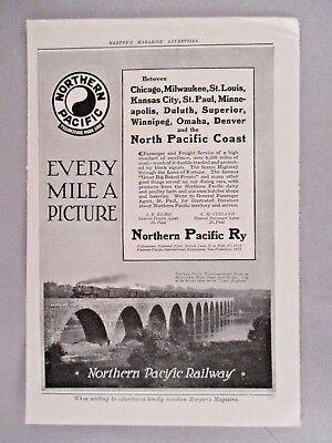 Northern Pacific Railway PRINT AD - 1913 ~~ Mississippi River Stone Arch Bridge