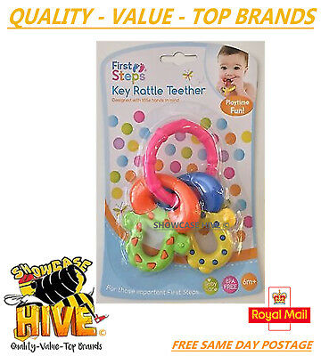 First Steps Baby Rattle Toy Babies Key Rattle Teether Fun Play Rattle 6 Months++