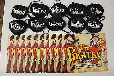 PIRATES: BAND of MISFITS - 10 EYE PATCH & 10 ACTIVITY TREASURE MAP Party Favors