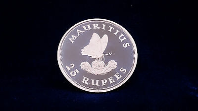 1975 Mauritius 25 Rupees Butterfly Silver Proof Coin