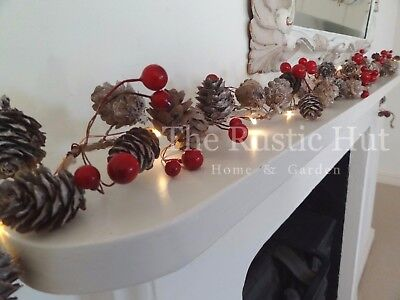 Christmas Garland with Pine Cones, Red Berries & 20 Micro LED Lights, 190cm