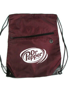 Dr. Pepper Cinch Bag Drawstring Bag with Zipper Pouch and earbud outlet