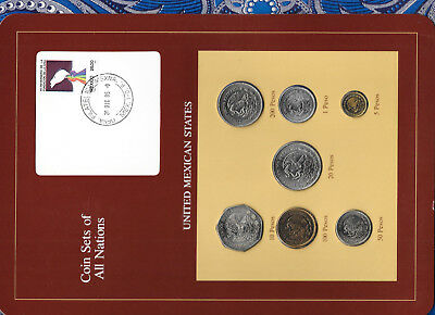 Coin Sets of All Nations Mexico UNC 1,5,10,50,100,200 Pesos 1985 20 pesos 1984