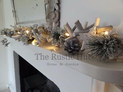 Whitewashed Christmas LED Garland with Twigs, Pine Cones & Stars, 190cm
