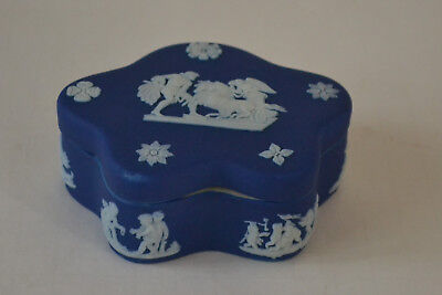 Vintage Wedgwood Jasperware Cobalt Blue Covered Trinket Box