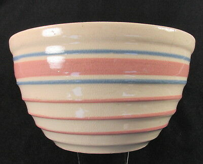 "Yellowware Ringed Mixing Bowl Pink Blue Stripes Bands Vintage 7"" Yellow Ware"