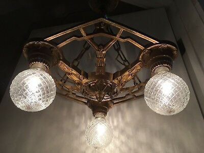 VTG 1920's Art Deco Chandelier Antique Polychrome Ceiling Light Fixture Brass