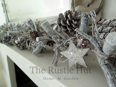 Whitewashed Natural Rustic Christmas Garland with Pine Cones twigs & Stars 100cm