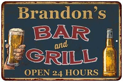 Brandon's Green Bar and Grill Open 24hrs Chic Sign Home Décor Gift 81204844