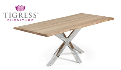 """""""Alexa"""" Modern Style Solid Oak & Stainless Steel Base Dining Table 220cm"""