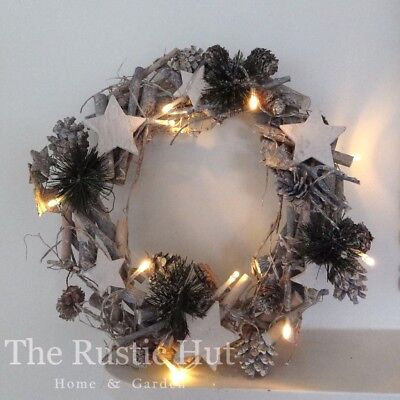 Whitewashed Christmas Wreath with LEDs, Twigs, Pine Cones & Stars