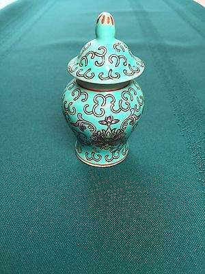 Petite Chinese Porcelain Urn in Turquoise Color