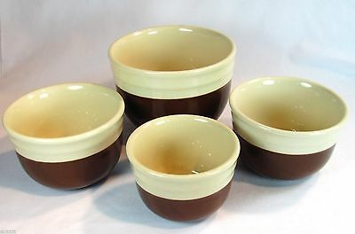 Oxford Universal Pottery Refrigerator Kitchen Mixing Bowls Brown Cream Lot of 4