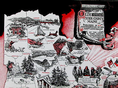 Olde York County Maine 300th Anniversary 1936 cartoon pictorial history map