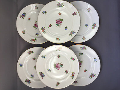 "7 Piece Set of Herend Hungary Floral Pattern Plates 10"" & 6"" Hand Painted"