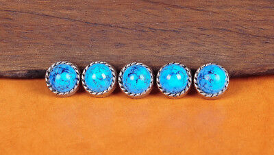 10Pcs 10Mm Turquoise Vantage Sliver Floral Rope Leather Craft Western Conchos