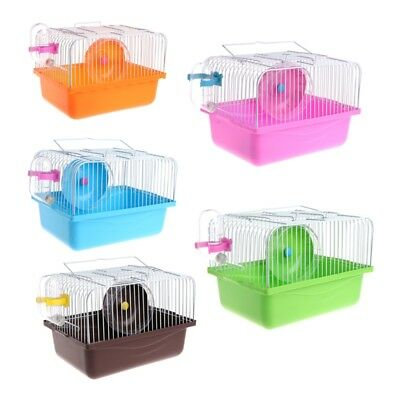 Portable Pet Hamster Cage House Travel Carrier Feeding Bowl With Wheel Running