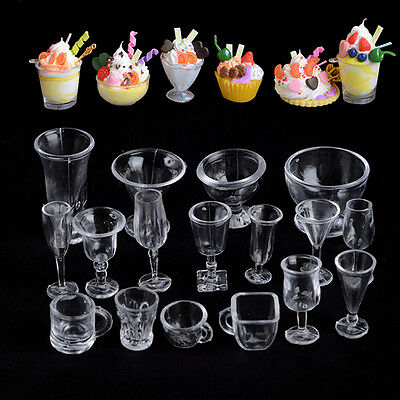17X Dollhouse Miniatures Clear Ice Cream Sundae Mini Cup for Food Supply Decor #