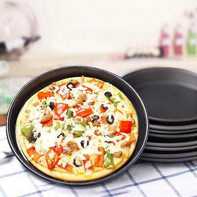 Useful New Round Deep Dish Pizza Pan Non-stick Pie Tray Baking.Kitchen Tools HOT