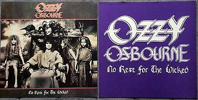 Ozzy Osbourne No Rest for The Wicked RARE promo 12 x 12 poster flat '88