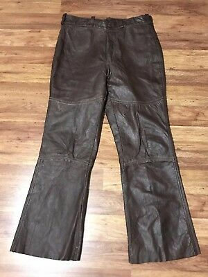 Mens Vtg 70s Harley Davidson AMF Cafe Racer Motorcycle Leather Pants 36 x 32