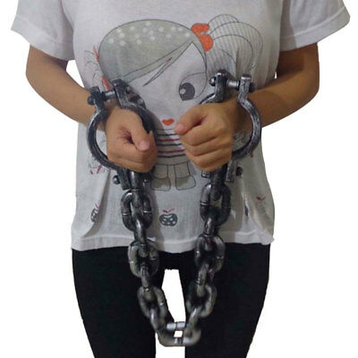 wrist shackles prison handcuffs halloween costume party chain links cosplay new