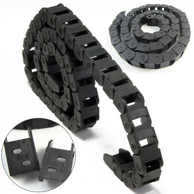 1M 10 x 15mm R28 Black Plastic Drag Chain Cable Carrier Tool For CNC Router Mill