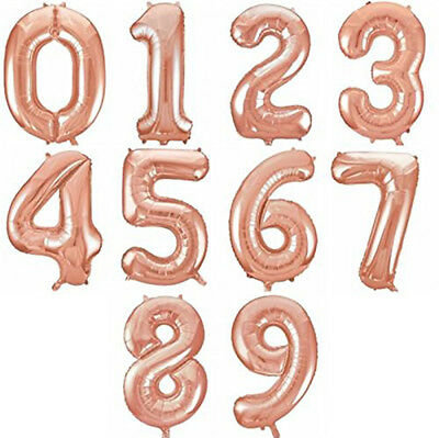 """Rose Gold Helium 32"""" Birthday Party Number Foil Balloons 0123456789 Decorations"""