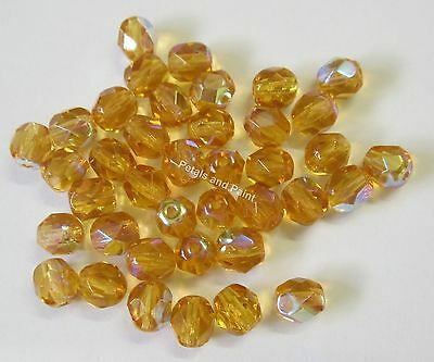 40 Fire Polished 6mm Faceted Glass Beads Gutermann Czech Bead Amber AB Col 8940