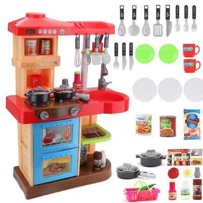 52 Pcs Children Play Kitchen Toys Kids Pretend Toys with Accessories & Food Pro.
