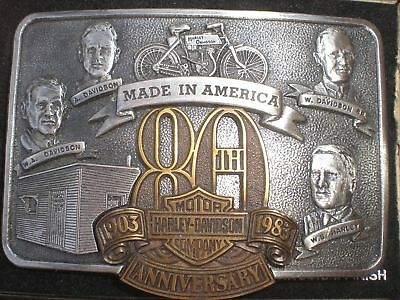 Harley1983 80Th 80 Year Anniversary Belt Buckle Vintage Founders Numbered Le