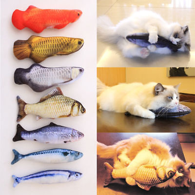 Good Pet Cat Kitten Chewing Fish Stuffed Mint Catnip Simulation Play Plush Toy