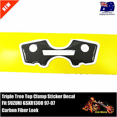 Triple Tree Top Clamp Decal Sticker Carbon Fiber Look 4 Suzuki GSXR1300 97-07