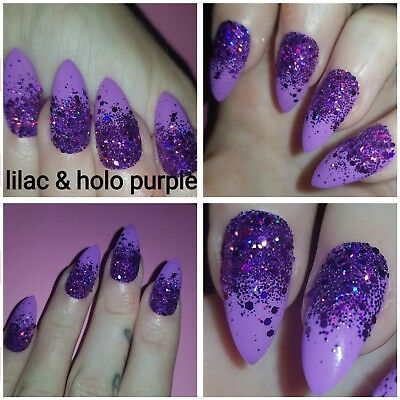 Lilac with Purple Holographic Sparkly Glitter Fade False Nails x 20