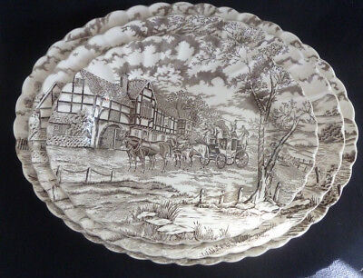 Set THREE Myott Pottery Meat Plates / Platters  Royal Mail Staffordshire Brown