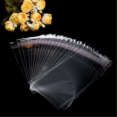 200pcs Clear Transparent Plastic OPP Self Adhesive Seal Bag Resealable Poly Bags