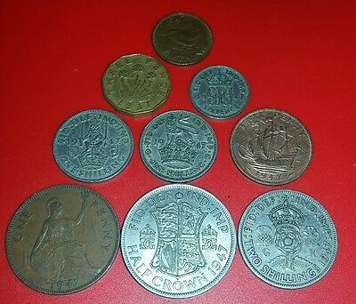 70th Birthday 1947 George VI British Pre-Decimal Coins Set  in Prot Wallet