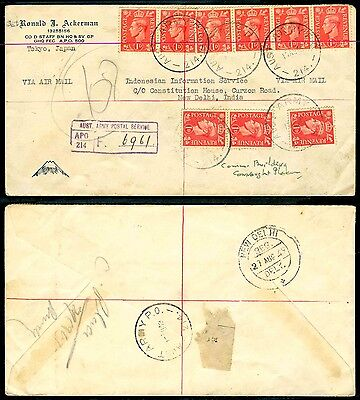 Gb Aust Army Po 214 Service Rare Cover From Japan To India