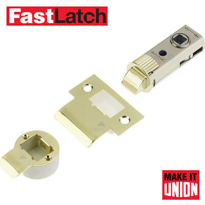 "Door Latch Internal Tubular Mortice Latch  2.5"" & 3"" Push Fit Polished Brass"