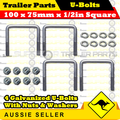 4 x U Bolts 100mm x 75mm Square with Nuts Galvanized Trailer Box Boat Caravan