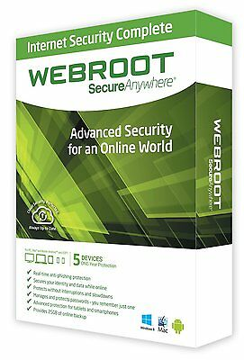 Webroot SecureAnywhere Internet Security PLUS 2017, 5 Devices 1 Year License