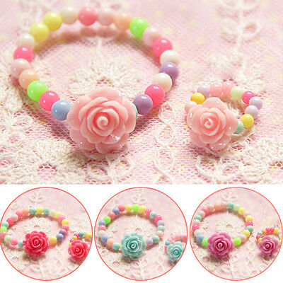 Ring Acrylic Jewelry Children 2017 Girls Baby Kids Bracelet Lovely Fashion Set