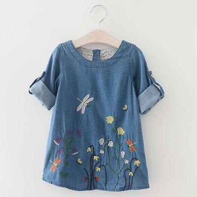 Kids Girl Baby Loose Embroidery Flowers Imitation Jeans Dress Long Sleeve Tops