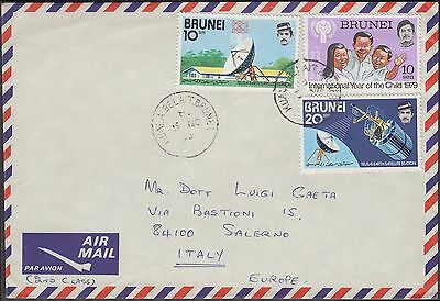 Brunei 1979 3 Values Communication On Airmail Cover To Italy