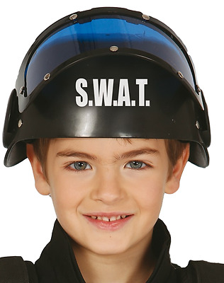 Girls Boys Kids Swat Team Police Riot Gear Hero Helmet Fancy Dress Accessory Hat