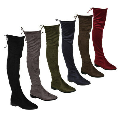 Women's Stretchy Snug Fit Thigh High Drawstring Block Heel Boots