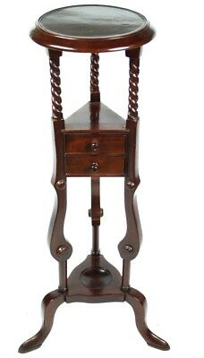 Antique Mahogany Barley Twist Torchere Plant Display Stand [PL3901]