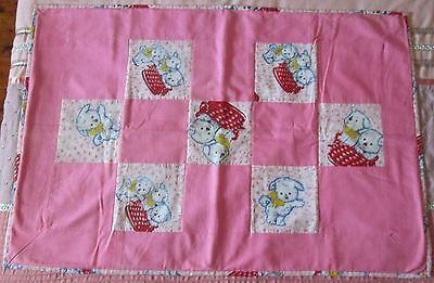 Baby Vintage Puppy Material Handmade Patchwork Quilt Throw Sewing Fabric