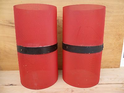 Vintage Old Retro Red & Black Lamp Shades Set '2' (A480)