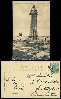 Gb New Brighton Lighthouse From The Pier Nice View Card To Manchester